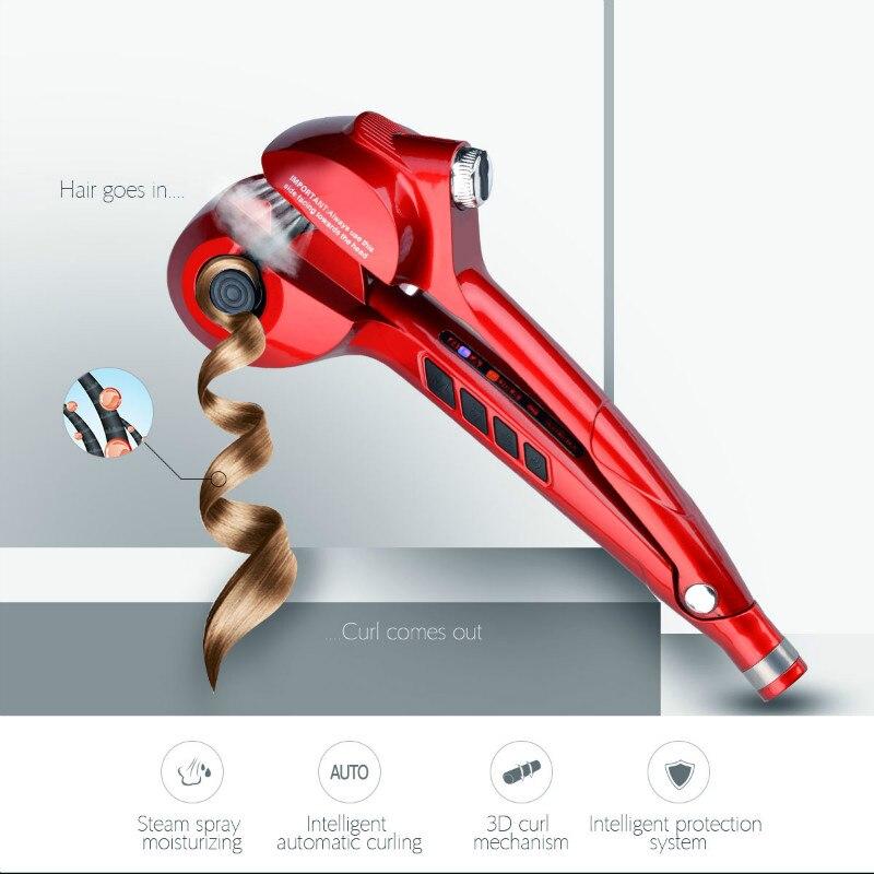CkeyiN vaporisateur vapeur cheveux bigoudi automatique Curling cheveux boucles en céramique Curling fer baguette rouleau LED numérique cheveux bigoudi outil Style