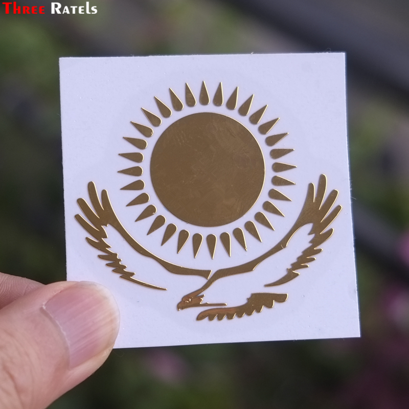 Three Ratels MT-030# 49*55mm 1-2 Pieces The Flag Of Kazakhstan Metal Golden Nickel Car Sticker Auto Car Stickers