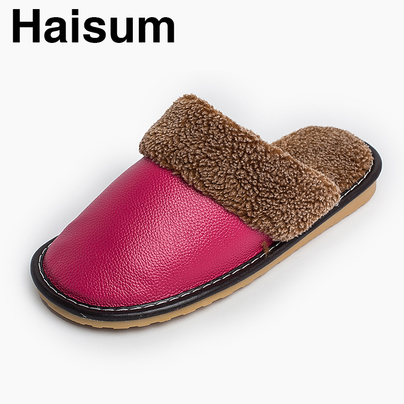 Ladies Slippers Winter genuine Leather Thick With Plush Home Indoor Non-slip Thermal Slippers 2018 New Hot Sale Haisum H-8812 men s slippers winter pu leather home indoor non slip thermal slippers 2018 new hot haisum h 8007
