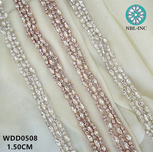 (10 YARDS)Wholesale handmade beaded sewing silver rhinestone applique trim  iron on for wedding dress sash WDD0508-in Rhinestones from Home   Garden on  ... bda1603babc7