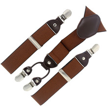 2015 man suspenders fashion braces with gift box Adjustable 4 Clips brown Mens Gift  Wedding apparel accessories