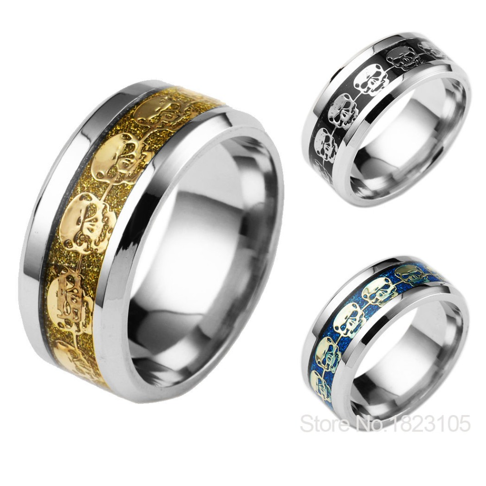 fashion mens jewelry never fade stainless steel skull ring gold filled blue black skeleton pattern man biker rings for men gift - Biker Wedding Rings