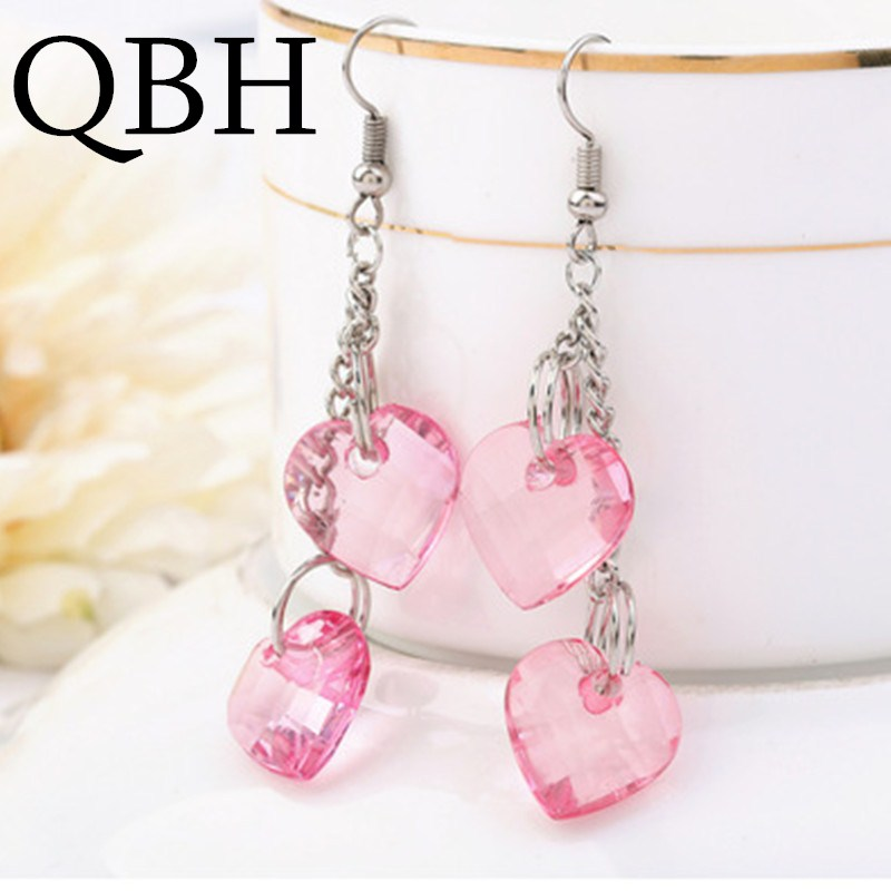 EK2021 Boucles New Fashion Women Pink LOVE Heart Transparent Crystal Long Tassel Drop Earrings Cheap Jewelry Brincos Pendientes