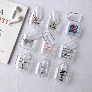 Image 3 - Прозрачные Жесткие чехлы для Apple Airpods, беспроводные Bluetooth наушники, милые Мультяшные, King Queen, прозрачные парные Чехлы Air Pods, наушники