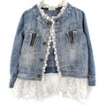 2-7Years Jean Jacket Girls Kids Denim Lace Coat Long Sleeve Botton Children Outwear Clothes 2016  J2