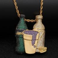 Zlxgirl fashion Wine glass bottle pendant stainless steel jewelry Perfect men's cubic zircon hip hop clothing punk jewellery