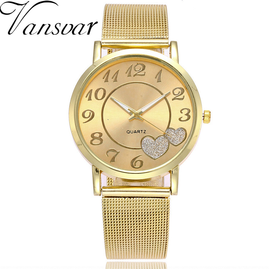 Vansvar Brand Fashion Silver And Gold Mesh Band Love Dial Wrist Watch Casual Women Quartz Watches Gift Relogio Feminino vansvar brand fashion leather anchor watches casual women wristwatches luxury quartz watch relogio feminino gift clock