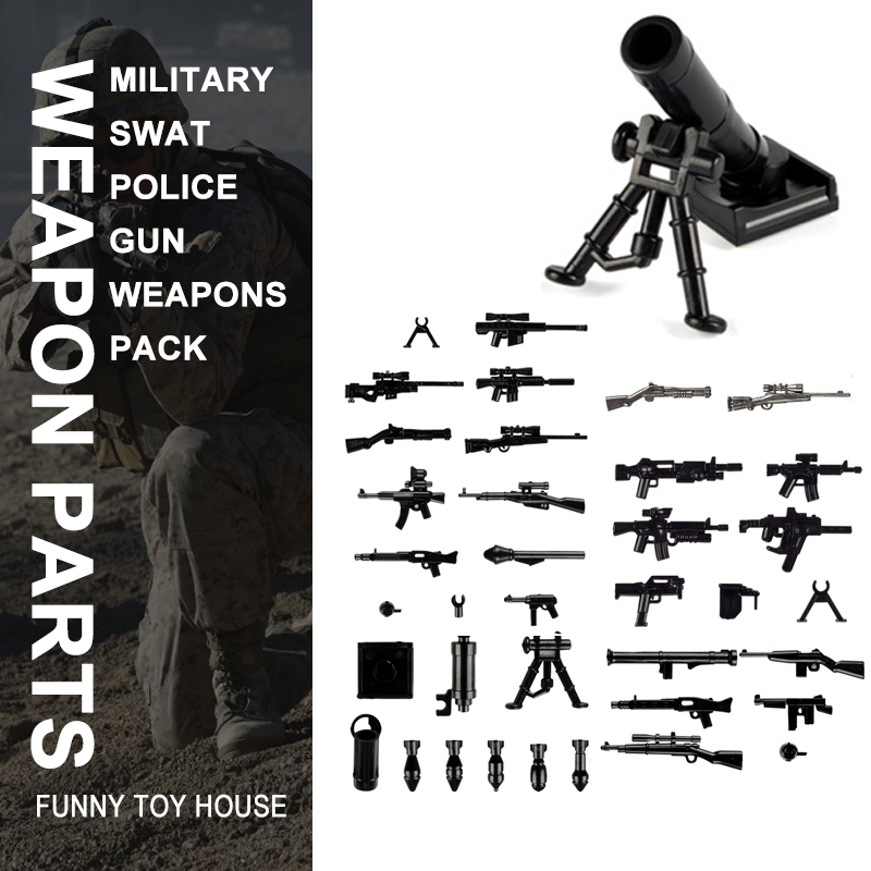 Military Swat Team Guns Weapon Pack Building Blocks City Police Soldiers Figure WW2 LegoINGlys Military Army Builder Series Toys military city police swat team army soldiers with weapons ww2 building blocks toys for children gift