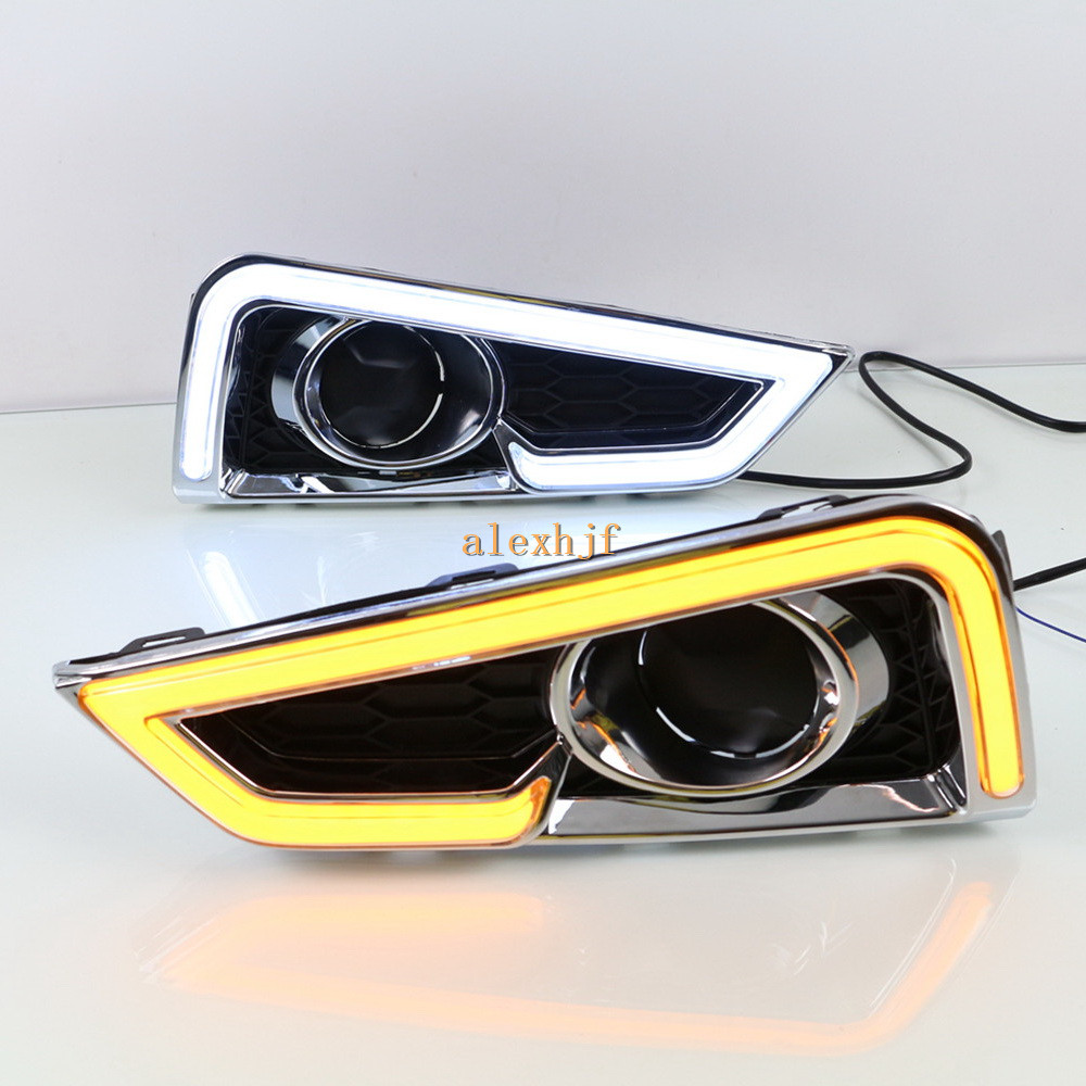 July King LED Light Guide Daytime Running Lights LED DRL with Yellow Turn Signals Light Case for Honda City 2015~2017, A5 Type