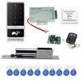 O envio gratuito de 125 KHz C60 toque sistema de controle de acesso eletrônico + parafuso lock + alimentação + chave + fobs botão de saída porta + controle remoto