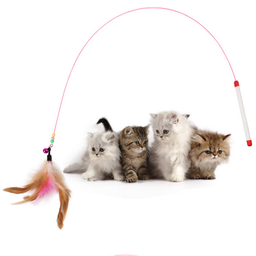 Hot 10pcs Pet cat toy Cute Design Steel Wire Feather Teaser Wand Plastic Toy for cats Color Multi Products For pet Product