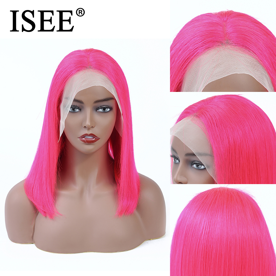 Pink Straight Bob Wig 613 / Blue 13X4 Short Lace Front Human Hair Wigs For Women 150% Density Malaysian Straight Lace Front Wig image