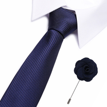 Formal Business Jacquard Polyester Tie For Men Woven Necktie Paisley Blue Color 7.5 cm Tie Neck wear Cravat And Free Brooch Gift цена