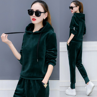 European fashion hooded casual fleece two piece clothing set women thickening hoodies pants solid outfit tracksuit velvet M XXL