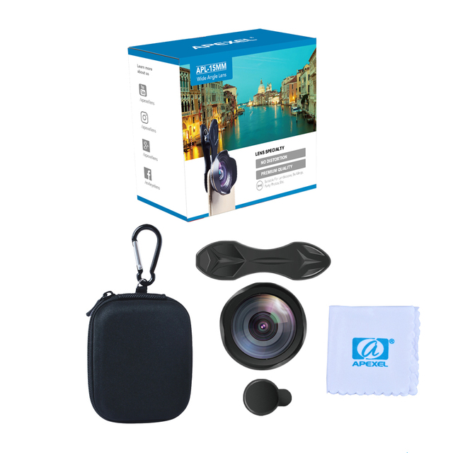 APEXEL Professional Optic Phone camera lends kit 15mm 4K Wide angle lens no distortion for iPhoneX 8 plus HTC more smartphone 5