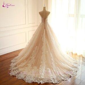 Image 4 - Waulizane 제국 허리 라인 수 놓은 레이스 strapless 웨딩 드레스 레이스와 신부 드레스