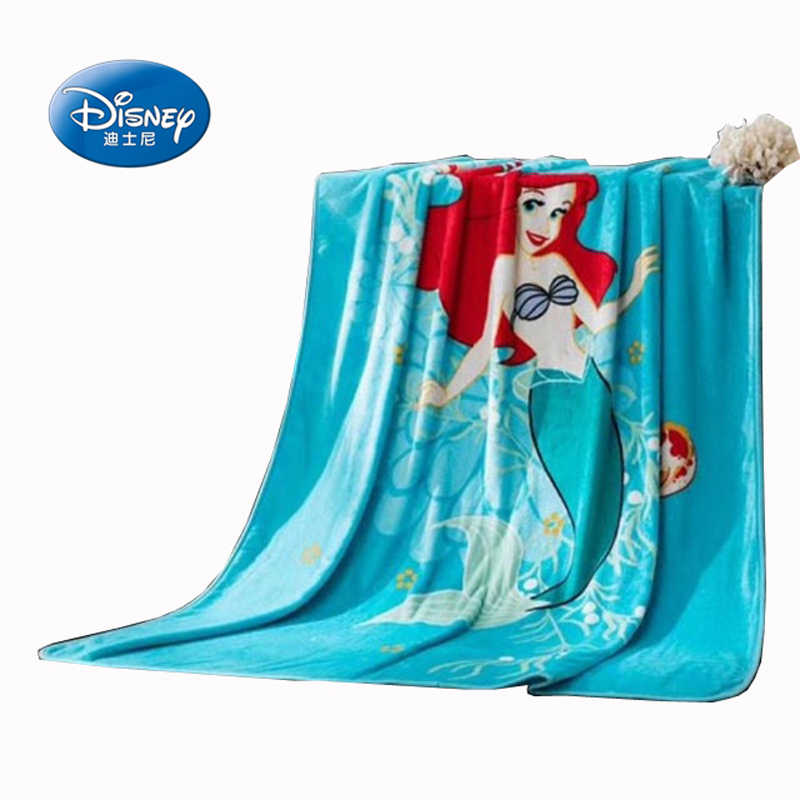 Disney Cartoon Blue the Little Mermaid Ariel Print Blanket 150x200cm Thick Throw Home Decor Warm Flatsheet Christmas Gift