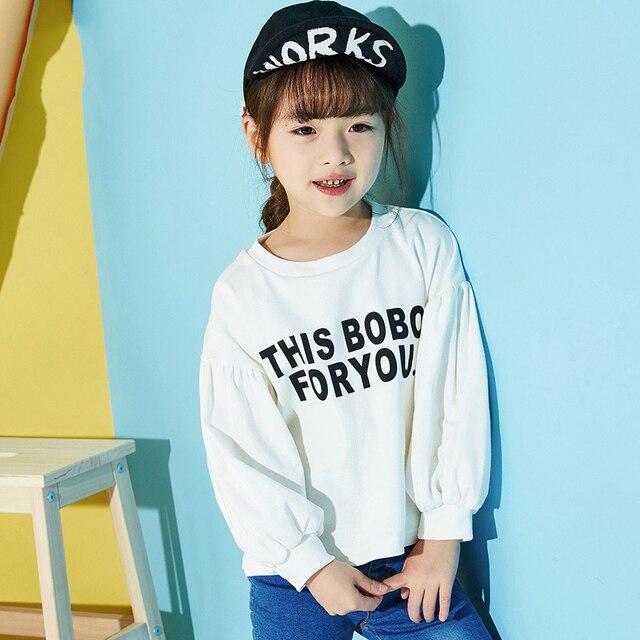 3-7T Girls Spring Autumn Fashion Hoodies 2017 New Korean Version Long Sleeve Sweatshirts Children's Letter Printed Clothing
