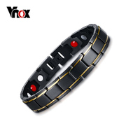 Vnox Men S Black Titanium Bracelets Bangles Health Magnetic Power H Chain Bracelet Jewelry 21cm