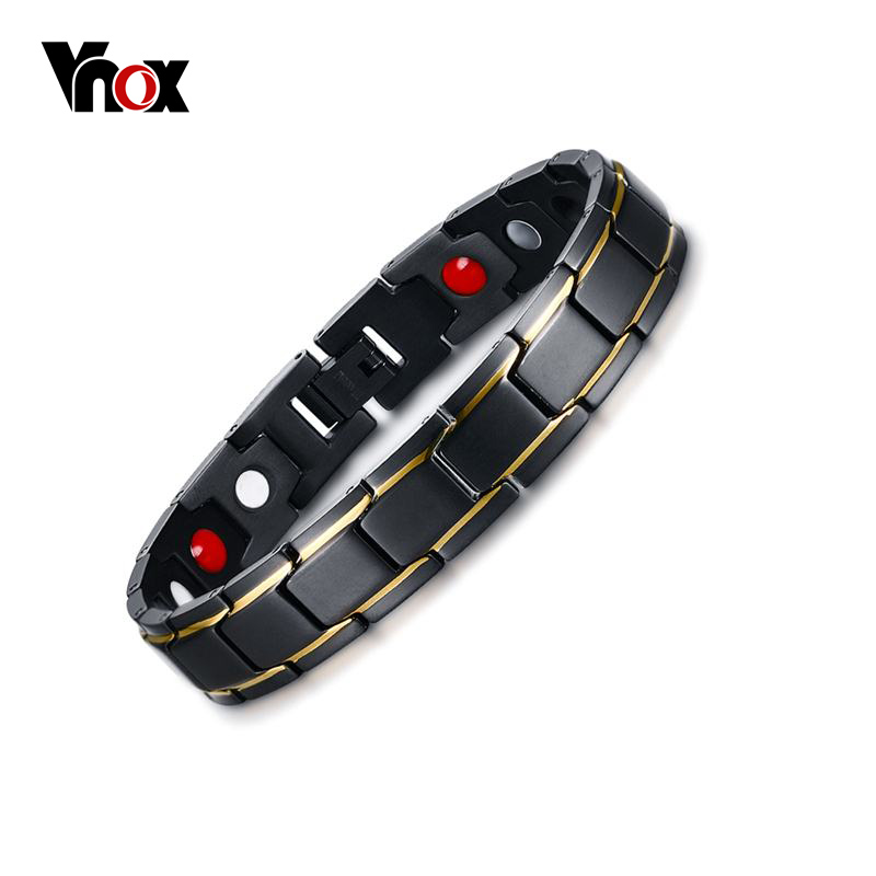 цены Vnox Elegant Pure Titanium Magnetic Therapy Bracelet Pain Relief for Arthritis and Carpal Tunnel Men Jewelry