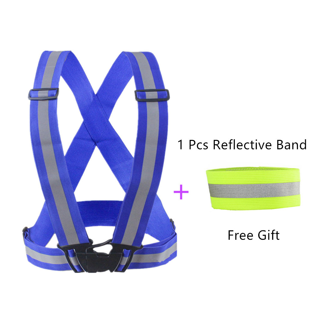 Outdoor Sport High Visibility Reflection Vest Running Cycling Vest Waist Belt Night Safety Jacket+1Pcs Armband(Free Gift)