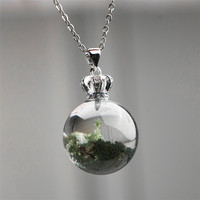 Genuine Natural Green Phantom Quartz Spherical Crystal Women Healing Charm Stone Pendant 19.5mm