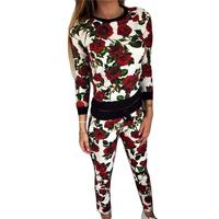 FUNOC Casual Long Sleeve Set Women Suit Slim Tracksuit 2 Pieces Set O Neck Printed