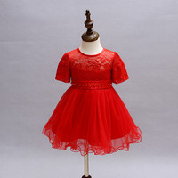 Cute Baby Girl Baptism Dress Red Infant Princess Dresses For Formal Occasion 1 Year Birthday Dress
