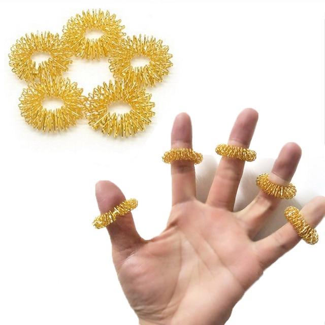 Hot Sale Finger Massage RingAcupuncture Finger Ring Massage Relax Finger Massager Mini Finger  massage ring 2 colors 10 Pcs