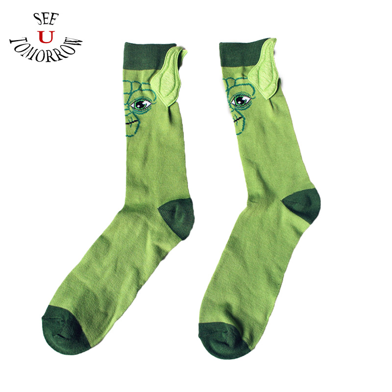 New 1Pair Funny Star Wars Socks Master Yoda Cosplay Stockings Green Cotton Men Women Halloween Party Stocking Free Shipping