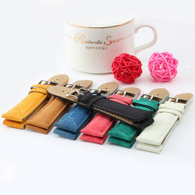 High Quality Fashion 7 Colors Cowboy Stripes Style Leather Watchband Hot Sale Cl