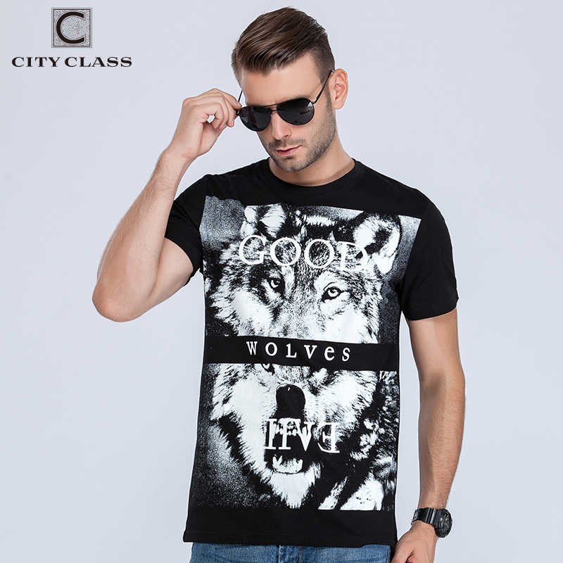 City mens t-shirt tops tees fitness Fashion hip hop men cotton tshirts homme camisetas t shirt brand clothing animal wolf  2023