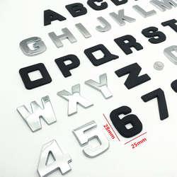 FDIK 25 мм 3D Металл DIY буквенный Алфавит эмблема из хрома наклейки Цифровой Знак автомобилей Логотип Автомобильные аксессуары мотоцикл