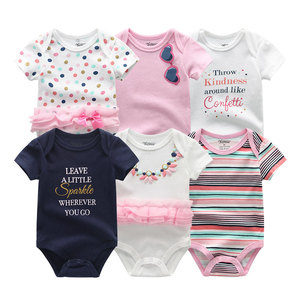 Image 2 - Vêtements pour nouveau né garçon, 6 pièces/ensembles, à manches courtes, vêtements dété pour bébés, tout petit coton, barboteuse filles