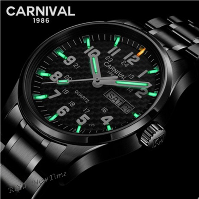 Tritium T25 luminous watch men luxury brand military full steel quartz men watches waterproof clock reloj