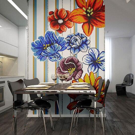 Art Glass Mosaic Collage Floral Tile Wallpaper Art Flower