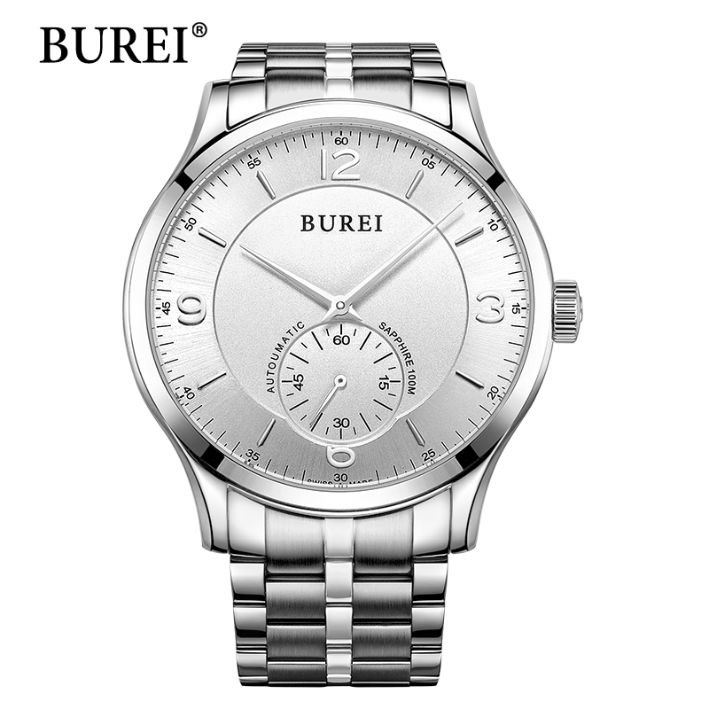 BUREI 2017 Limited Men Watch Top Brand Luxury Clock Stainless Steel Band Waterproof 50m Sapphire Mechanical Wristwatches  XFCS 2016 limited time limited paper watch men saat holuns stainless steel dial leather band wrist watch men