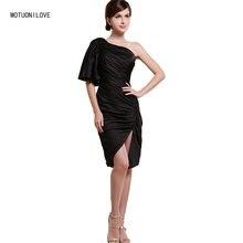 Женское облегающее платье с рукавом до локтя разрезом
