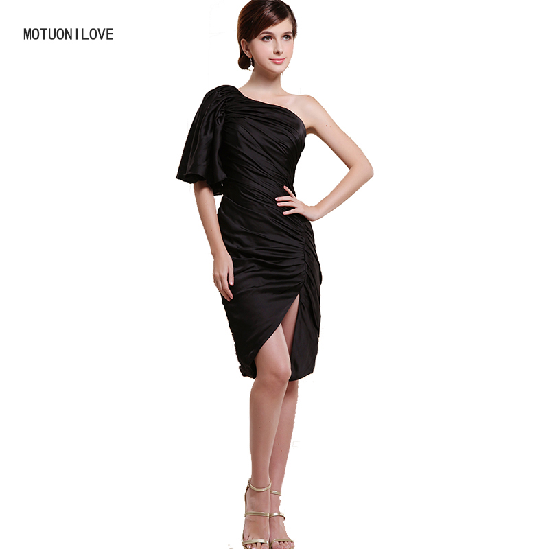 One Single Half Sleeves Slim Women Sexy Cocktail Dress Split Banquet Party Gowns Formal Dress Bodycon Vestidos Cortos De Coktel