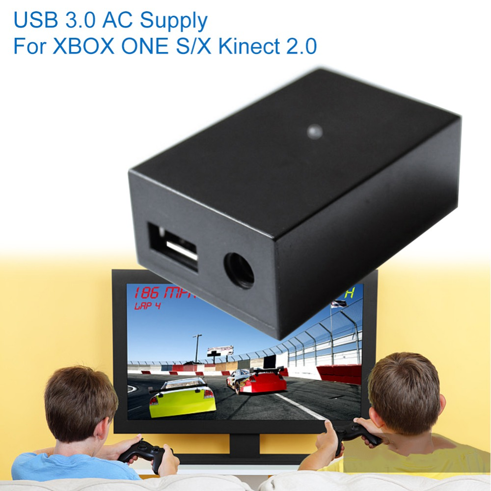 USB 3.0 AC Adapter for XBOX One S/X Host Kinect 2.0 USB Adapter US Plug Power Black, цена и фото