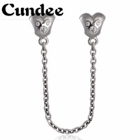 Spring 2015 New Cartoon Mouse Safety Chain Charms With Clear Cz 925 Sterling Silver Jewelry For