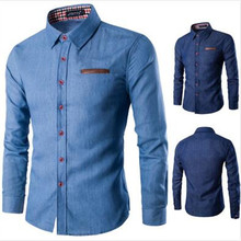 Новый 2017 мужская джинсовая рубашка с длинным рукавом бренд clothing мужчины рубашки slim fit джинсовой одежды мужчин джинсы рубашка camiseta masculina