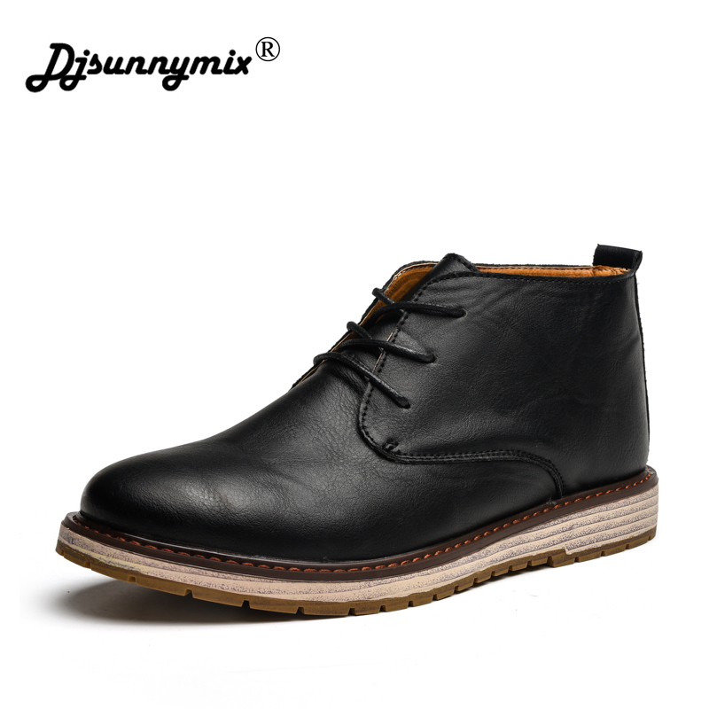 DJSUNNYMIX Brand Work Boots Men Safety Shoes Genuine leather Ankle Boots Lace Up Shoes Autumn Winter Rubber Boot Brown Black