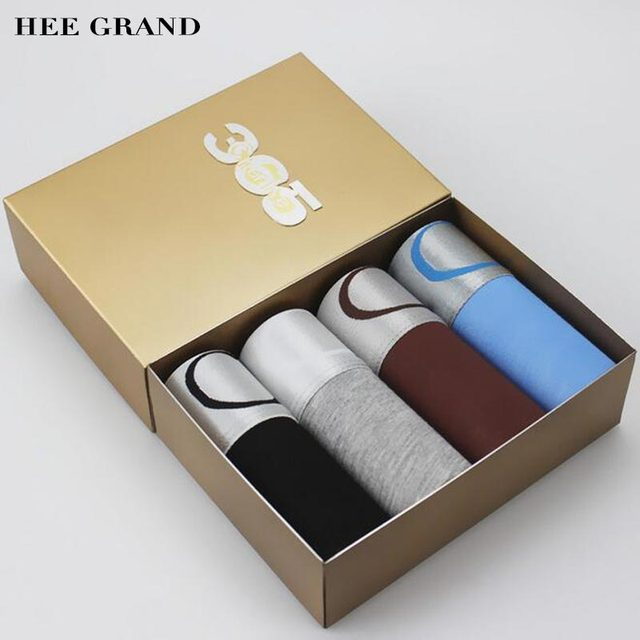 HEE GRAND 2017 New Arrival Men Silver Side Patchwork Boxers Solid Color Comfortable Modal Underwear 4 Pieces Per Set NNP200