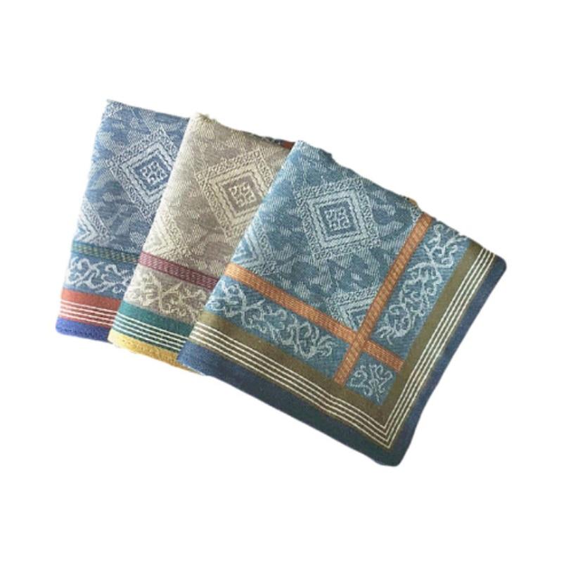 1pcs 100% Cotton Soft Sweat Thick Jacquard Handkerchief Men Pocket Square Scarf Business Chest Scarf Pocket Scarf