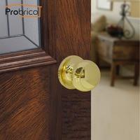 Probrico Stainless Steel Passage Keyless Round Door Locks Polished Golden Brass Door Knob /Door Handle Locker Home Hardware