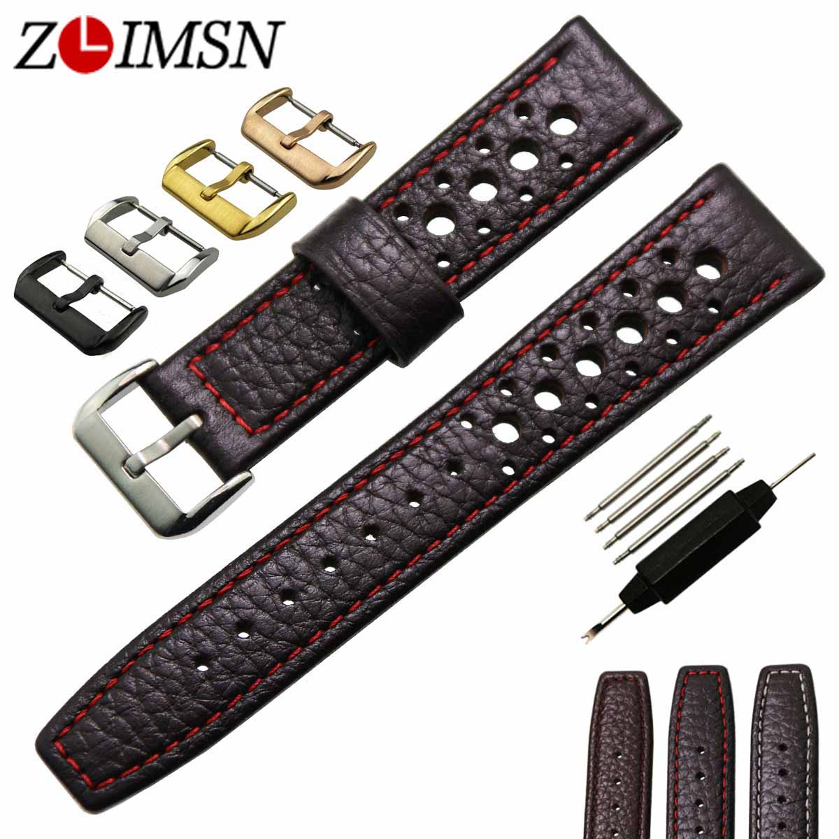ZLIMSN Mens Genuine Leather Watchbands Watch Band Bands Dark Brown Strap Brand Belt Stainless Steel Buckle 20mm 22mm business men tie shallow mouth brown leather casual rivet shoes men s shoes round youth non slip rubber sole