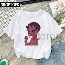 Kawaii Black Girl T Shirt Harajuku Summer Cotton White T-shirt Women Clothes 2019 Aesthetic Streetwe