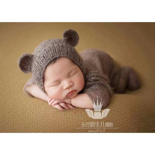 cf59a25ef78 Newborn baby overall outfit Knit mohair hooded romper Newborn crochet hat  and romper onesie photography props