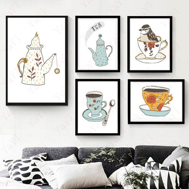 Tazza di caffè parete quadri su tela con cornice per cucina decor ...